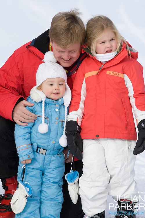Crown Prince Willem Alexander, of Holland with Daughters, Princess Catharina Amalia ( right ) and Princess Ariane attend a Photocall with Members of The Dutch Royal Family during their Winter Ski Holiday in Lech Austria