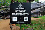 Notice sign Sacred Place, Gal Viharaya, UNESCO World Heritage Site, the ancient city of Polonnaruwa, Sri Lanka