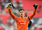 Chelsea's Thibaut Courtois celebrates at the final whistle during the premier league match at the Wembley Stadium, London. Picture date 20th August 2017. Picture credit should read: David Klein/Sportimage