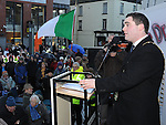 Mayor of Drogheda Kevin Callan speaking at the march against the closure of the Cottage Hospital. Photo: Colin Bell/pressphotos.ie