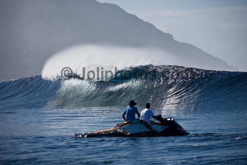 DEAN MORRISON (AUS) watches an empty wave break at a reef pass near Teahupoo, Tahiti, (Friday May 15 2009.) Photo: joliphotos.com