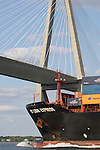 Container Ship St Louis Express sailing under the Arthur Ravenel Jr bridge on the cooper river chaleston SC