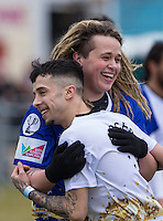 Luke Friend (X-Factor) with Dappy (Musician / Celebrity Big Brother) during the SOCCER SIX Celebrity Football Event at the Queen Elizabeth Olympic Park, London, England on 26 March 2016. Photo by Andy Rowland.