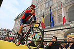 Heinrich Haussler (AUS) Bahrain-Merida at the team presentation in Antwerp before the start of the 2019 Ronde Van Vlaanderen 270km from Antwerp to Oudenaarde, Belgium. 7th April 2019.<br /> Picture: Eoin Clarke | Cyclefile<br /> <br /> All photos usage must carry mandatory copyright credit (&copy; Cyclefile | Eoin Clarke)