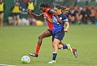 Portland, OR - Saturday July 09, 2016: Shade Pratt, Lo'eau LaBonta during a regular season National Women's Soccer League (NWSL) match between the Portland Thorns FC and FC Kansas City at Providence Park.
