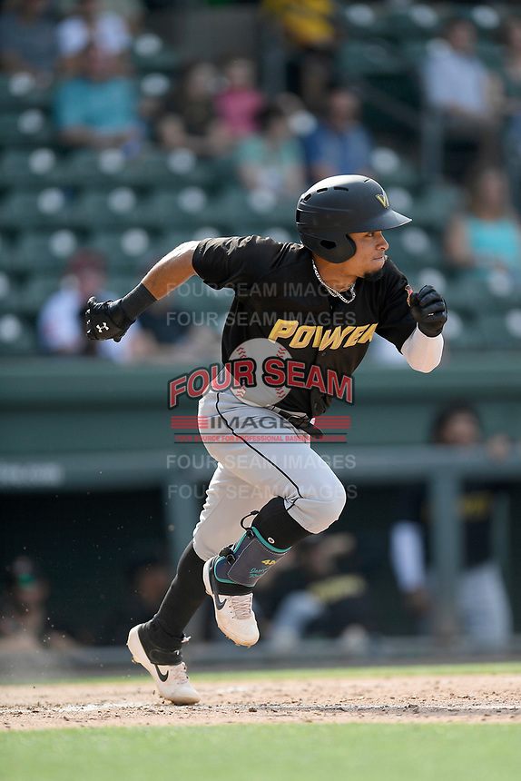 Shortstop Joseph Rosa (2) of the West Virginia Power runs toward first base in a game against the Greenville Drive on Sunday, May 19, 2019, at Fluor Field at the West End in Greenville, South Carolina. Greenville won, 8-4. (Tom Priddy/Four Seam Images)
