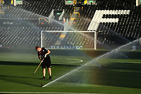 30th July 2020; Craven Cottage, London, England; English Championship Football Playoff Semi Final Second Leg, Fulham versus Cardiff City; A Fulham groundsman makes final preparation to the pitch before kick off
