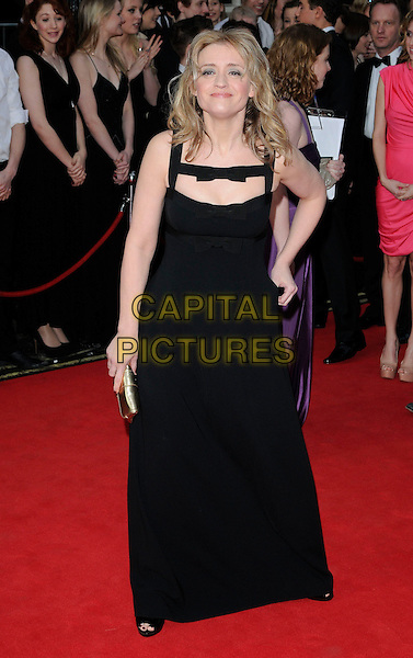 ANNE MARIE DUFF.The 35th Laurence Olivier Awards,.Theatre Royal, Drury Lane, London.England, UK..March 13th 2011.full length black hand on hip maxi dress bows cut out sleeveless gold clutch bag .CAP/CAN.©Can Nguyen/Capital Pictures.