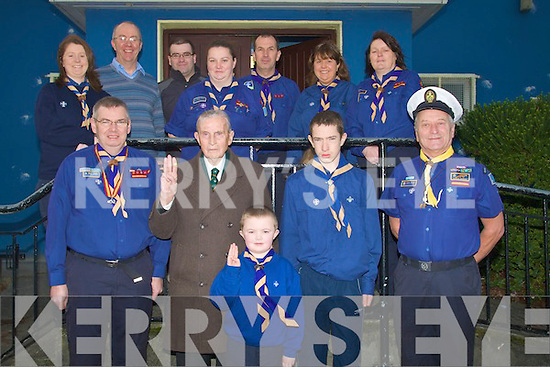 SCOUTS: Announcing details for the forth coming 80th anniversary and reunion of the Scouts in Kerry Ireland, at the Scout hall, Garvey's Car Park, Tralee on Saturday. Front l-r: Jimmy O'Donnell, Michael Scannell, Ryan Guerin, Dylan Harnett and Brian Daly (sea scout). Back l-r: Caroline O'Connor, Sean Daly, Angela Stack, Ger Hobbert, Bill Harnett, Treasa Guerin and Maura O'Donnell.   ....