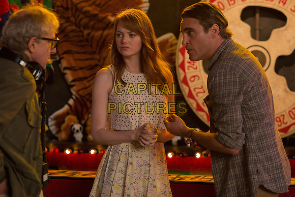 Woody Allen (Director), Emma Stone, Joaquin Phoenix<br /> on the set of Irrational Man (2015) <br /> *Filmstill - Editorial Use Only*<br /> CAP/NFS<br /> Image supplied by Capital Pictures