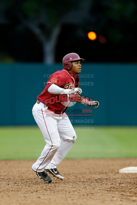 Timmy Robinson #28 of the USC Trojans during a inter squad game at Dedeaux Field on November 16, 2012 in Los Angeles, California. (Larry Goren/Four Seam Images)
