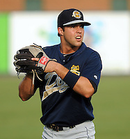 Outfielder Taylor Grote (22) of the Charleston RiverDogs, Class A affiliate of the New York Yankees, prior to a game against the Greenville Drive on July 31, 2011, at Fluor Field at the West End in Greenville, South Carolina. (Tom Priddy/Four Seam Images)