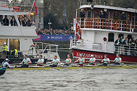 Greater London. United Kingdom, Cambridge women's Blue Boat in the opening strokes of the University Boat Races , Cambridge University vs Oxford University. Putney to Mortlake,  Championship Course, River Thames, London. <br /> <br /> Saturday  24.03.18<br /> <br /> [Mandatory Credit  Intersport Images]