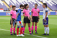 20190813 - ANDERLECHT, BELGIUM : Anderlecht's captain Laura Deneve (R) and Linfield's captain Kirsty McGuinness ((blue) with referee Jelena Cvetkovic (M)  pictured during the female soccer game between the Belgian RSCA Ladies – Royal Sporting Club Anderlecht Dames  and the Northern Irish Linfield ladies FC , the third and final game for both teams in the Uefa Womens Champions League Qualifying round in group 8 , Tuesday 13 th August 2019 at the Lotto Park Stadium in Anderlecht  , Belgium  .  PHOTO SPORTPIX.BE | DIRK VUYLSTEKE
