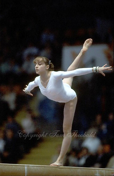October 23, 1983; Budapest, Hungary; Artistic gymnast Diana Dudeva of Bulgaria performs on balance beam at 1983 World Championships in Budapest..(©) Copyright 1983 Tom Theobald