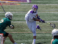 TD Ierlan (#3) shoots as UAlbany Lacrosse defeats Vermont 14-4  in the American East Conference Championship game at Casey Stadium, May 5.