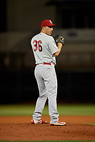 Palm Beach Cardinals relief pitcher Colton Thomson (36) gets ready to deliver a pitch during a game against the Charlotte Stone Crabs on April 20, 2018 at Charlotte Sports Park in Port Charlotte, Florida.  Charlotte defeated Palm Beach 4-3.  (Mike Janes/Four Seam Images)