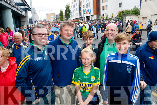 Donal Lynch, Paudie Lynch, Clodagh Lynch with Darragh O'Grady, Gavin O'Grady and Eoin Lynch, all from Killorglin, Kerry supporters, enjoying the All Ireland SFC quarter final Kerry v Galway in Croke Park, Dublin on Sunday.