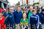 Donal Lynch, Paudie Lynch, Clodagh Lynch with Darragh O'Grady, Gavin O'Grady and Eoin Lynch, all from Killorglin, Kerry supporters, enjoying the All Ireland SFC quarter final Kerry v Galway in Croke Park, Dublin on Sunday.