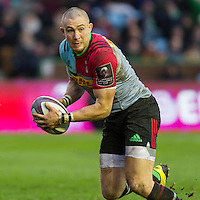Mike Brown in action, Harlequins v Cardiff Blues in a European Challenge Cup match at Twickenham Stoop, Twickenham, London, England, on 17th January 2016