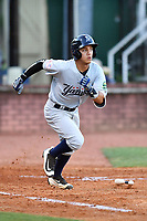 Pulaski Yankees second baseman Eduardo Torrealba (13) runs to first base during a game against the Elizabethton Twins at Joe O'Brien Field on June 27, 2016 in Elizabethton, Tennessee. The Yankees defeated the Twins 6-4. (Tony Farlow/Four Seam Images)
