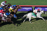 DEL MAR, CA - NOVEMBER 04: World Approval #5, ridden by John Velazquez, breaks away from the field on the home stretch  during the Breeders' Cup Mile on Day 2 of the 2017 Breeders' Cup World Championships at Del Mar Thoroughbred Club on November 4, 2017 in Del Mar, California. (Photo by Ting Shen/Eclipse Sportswire/Breeders Cup)