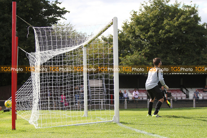 George Purcell (out of Picture) slams home the second goal for Hornchurch during AFC Hornchurch vs Soham Town Rangers, Bostik League Division 1 North Football at Hornchurch Stadium on 12th August 2017