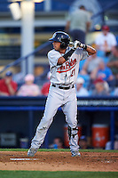 New Britain Rock Cats second baseman Joey Wong (21) at bat during a game against the Reading Fightin Phils on August 7, 2015 at FirstEnergy Stadium in Reading, Pennsylvania.  Reading defeated New Britain 4-3 in ten innings.  (Mike Janes/Four Seam Images)