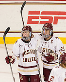 Makenna Newkirk (BC - 19), Andie Anastos (BC - 23) - The Boston College Eagles defeated the visiting UConn Huskies 4-0 on Friday, October 30, 2015, at Kelley Rink in Conte Forum in Chestnut Hill, Massachusetts.