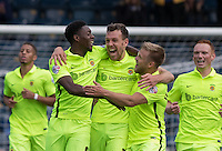 Celebrations as Carl Magnay (centre) of Hartlepool United scores the equaliser to make it 1-1 during the Sky Bet League 2 match between Wycombe Wanderers and Hartlepool United at Adams Park, High Wycombe, England on 5 September 2015. Photo by Andy Rowland.