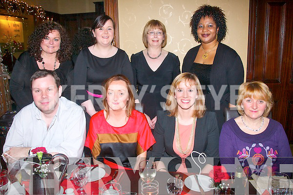 On Friday night last the Grand Hotel Tralee was the venue for the staff of Enable Ireland, Edward St, Tralee for their Christmas dinner (seated) L-R Richard Vousden, Breda Kerin, Paula Henry and Catherine McCannon (back) L-R Pauline Gaffney, Katie Roche, Kitty McCarthy with Doris Vassiliou.