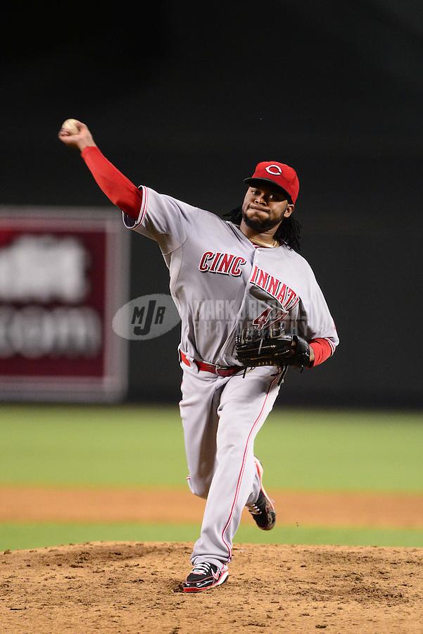 Aug. 28, 2012; Phoenix, AZ, USA: Cincinnati Reds pitcher Johnny Cueto throws in the sixth inning against the Arizona Diamondbacks at Chase Field. Mandatory Credit: Mark J. Rebilas-