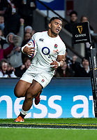 Manu Tuilagi of England heads to towards theory line to score his 2nd try during the Guinness Six Nations match between England and Italy at Twickenham Stadium on March 9th, 2019 in London, United Kingdom. Photo by Liam McAvoy.