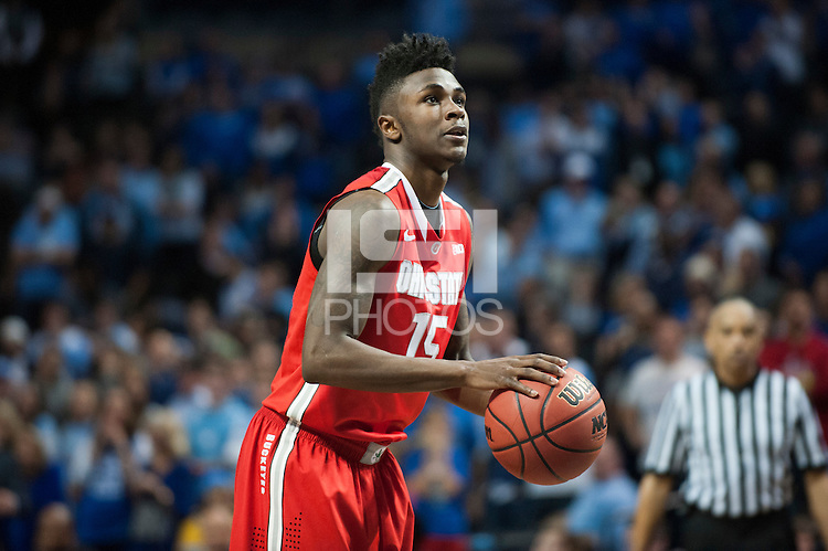 BROOKLYN, NY - Saturday December 19, 2015: Kam Williams (#15) of Ohio State takes a foul shot against the Kentucky Wildcats as the two teams square off in the CBS Classic at Barclays Center in Brooklyn, NY.