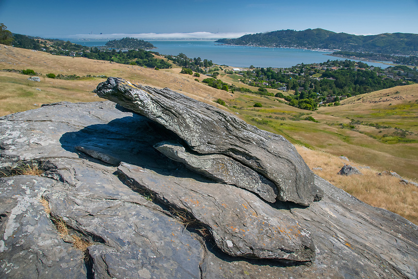 Rocks Overlooking the Pacific Ocean from Mt. Tamalpais, Marin County, California, US