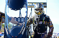 Oct. 28, 2012; Las Vegas, NV, USA: NHRA top fuel dragster driver Tony Schumacher during the Big O Tires Nationals at The Strip in Las Vegas. Mandatory Credit: Mark J. Rebilas-