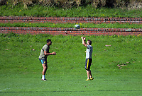 Isaia Walker-Leawere (left) with Dave Wildash. Hurricanes rugby union training at Rugby League Park in Wellington, New Zealand on Wednesday, 24 January 2018. Photo: Dave Lintott / lintottphoto.co.nz