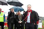 John Delaney from the FAI speaks at the Turning of the First Sod for the New Clubhouse for Drogheda Town Football Club at Marion Park...(Photo credit should read Jenny Matthews/NEWSFILE)...