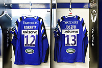 A general view of the matchday jerseys of Jamie Roberts and Jonathan Joseph of Bath Rugby, hung up in the changing rooms. Gallagher Premiership match, between Bath Rugby and Wasps on May 5, 2019 at the Recreation Ground in Bath, England. Photo by: Patrick Khachfe / Onside Images