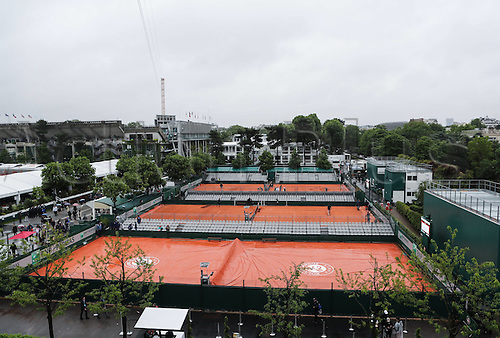 31.05.2016. Roland Garros, Paris, France. French Open tennis tournament. Courts topside view taken on May 31, 2016 shows the rain on the courts at Roland Garros
