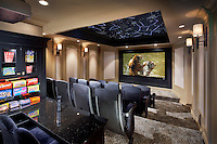 Home Theater With Tiered Seating and Candy Counter