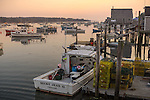 Central coast, Maine:<br /> Harbor view of boats and docks of Friendship Harbor