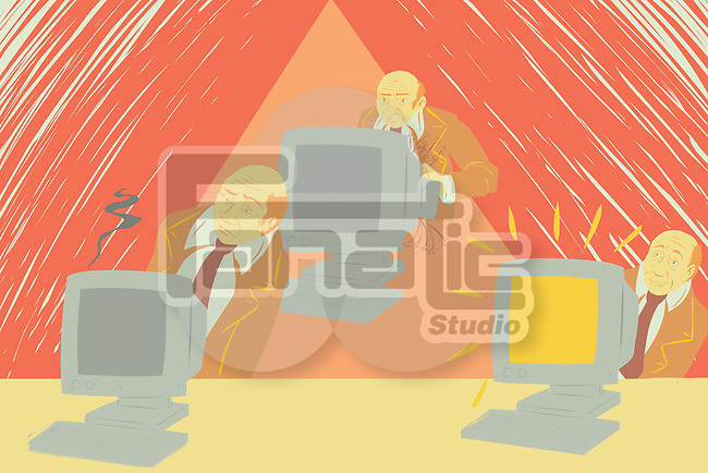 Illustration of businessman and computers