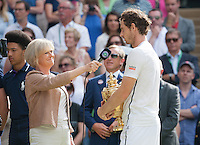 Andy Murrey (GBR) is interviewed by Sue Barker from the BBC after winning the mens tinal, Wimbledon Championships 2016, Day Fourteen, All England Lawn Tennis & Croquet Club, Church Rd, London, United Kingdom - 10th July 2016