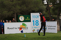 Sebastian Heisele (GER) on the 18th tee during Round 4 of the Challenge Tour Grand Final 2019 at Club de Golf Alcanada, Port d'Alcúdia, Mallorca, Spain on Sunday 10th November 2019.<br /> Picture:  Thos Caffrey / Golffile<br /> <br /> All photo usage must carry mandatory copyright credit (© Golffile | Thos Caffrey)