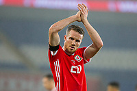 Marley Watkins of Wales claps the fans at full time of the International Friendly match between Wales and Panama at the Cardiff City Stadium, Cardiff, Wales on 14 November 2017. Photo by Mark Hawkins.
