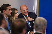 Director of the National Economic Council and chief economic advisor to President Donald J. Trump Gary Cohn smiles as he sits in press briefing room at the White House in Washington, DC shortly before taking questions from reporters about President Trump's proposed tax reform plan on Thursday, September 28, 2017.<br /> Credit: Alex Edelman / CNP /MediaPunch