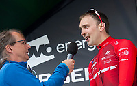 Picture by Allan McKenzie/SWpix.com - 17/05/2018 - Cycling - OVO Energy Tour Series Mens Race Round 3:Aberdeen - Adam Kenway is interviewed.