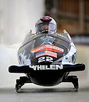 15 December 2007: USA 2 pilot Erin Pac, with Emily Azevedo on the brakes, head down the straightaway towards Turn 16 during their second run of the FIBT World Cup Bobsled Competition at the Olympic Sports Complex on Mount Van Hoevenberg, at Lake Placid, New York, USA. ..Mandatory Photo Credit: Ed Wolfstein Photo