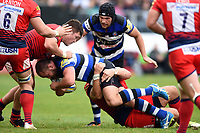 Tom Dunn of Bath Rugby takes on the Worcester Warriors defence. Aviva Premiership match, between Bath Rugby and Worcester Warriors on October 7, 2017 at the Recreation Ground in Bath, England. Photo by: Patrick Khachfe / Onside Images
